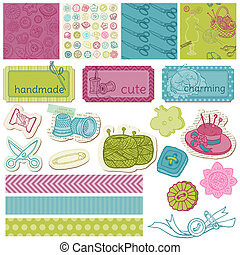 Scrapbook Design Elements - Sewing Kit in vector