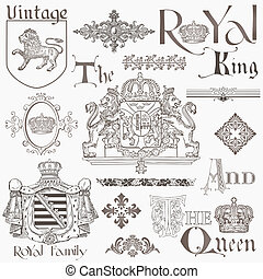 Set of Vintage Royalty Design Elements - High Quality - in...