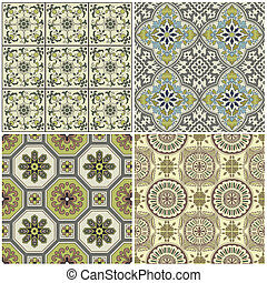 Seamless Vintage Background Collection - Victorian Tile in...