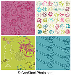 Sewing Kit - Set of Seamless Backgrounds  in vector