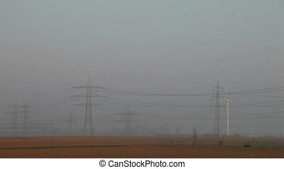 power poles in the morning