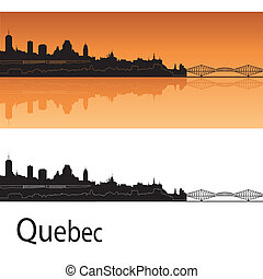 Quebec skyline in orange background in editable vector file