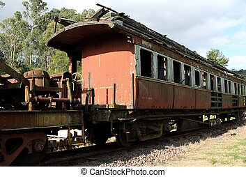 Run Down Train On The Track - A run down, old, delapidated...