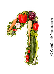 Vegetable number - Number made of various kinds of...