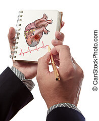 Doctor drawing heart Attack and heart beats cardiogram