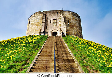 Cliffords Tower Dominating The Motte - View up the steps on...