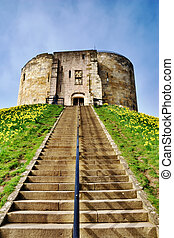 Cliffords Tower, York, England - View up the steps and motte...