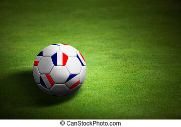 Flag of Franch with soccer ball over grass background - Euro 2012 championship