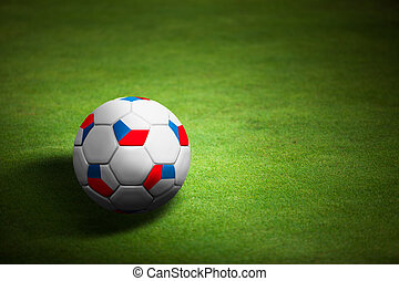 Flag of Czech Republic with soccer ball over grass background - Euro 2012 championship