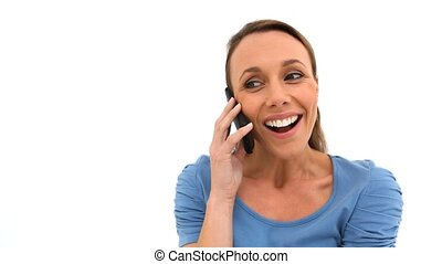 Woman with blue shirt on the phone