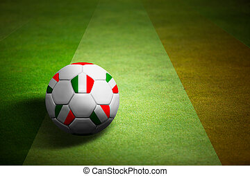 Flag of italy with soccer ball over grass background - Euro...