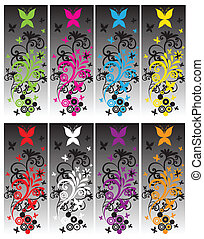 Butterfly Banners - A flourish butterfly design banner in...