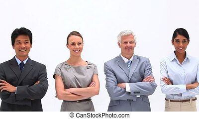 Business people with arms crossed