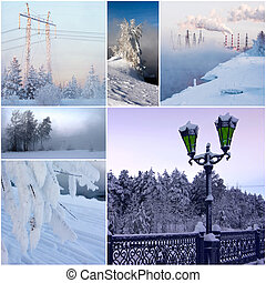 collage from 6 beautiful photos on winter theme