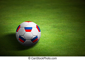 Flag of Russia with soccer ball over grass background - Euro 2012 championship