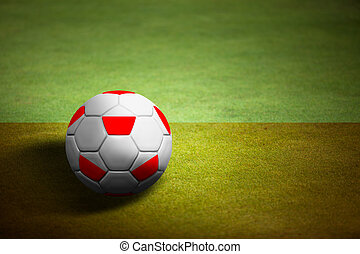 Flag of Poland with soccer ball over grass background - Euro 2012 championship