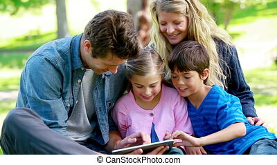 Family using an ebook in a park
