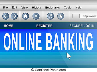 Online banking. - Illustration depicting computer screen...