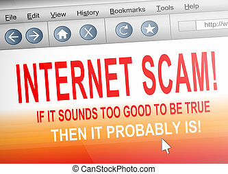 Internet scam - Illustration depicting computer screen shot...