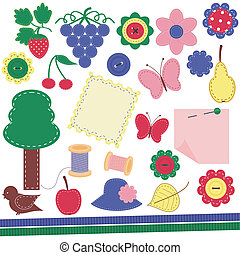 scrapbook objects on white