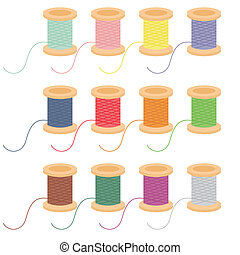 colored reels of thread on white