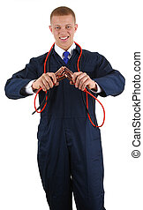 Guy with electrical cables