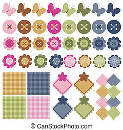 scrapbook objects on white - set with many different...