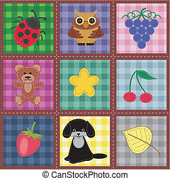 patchwork set seamless with different scrapbook objects
