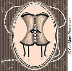 vintage beige corset - on a vintage background is a beige...