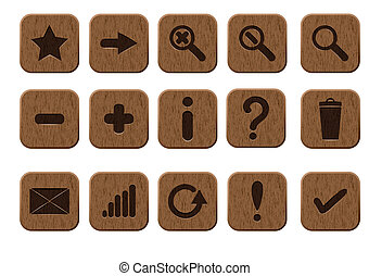 wooden icons set - Basic set of 15 wooden icons. Vector...