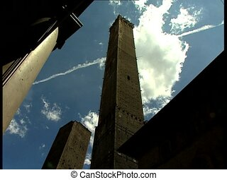 BOLOGNA two towers with clouds - The two ancient towers of...