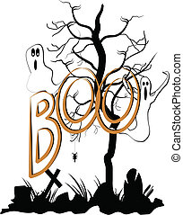 boo - scary Halloween background with ghosts in graveyard