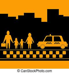 taxi, urbano, Plano de fondo, familia