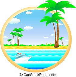 tropical landscape with cruise ship - colorful tropical...