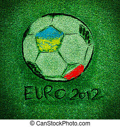 EURO 2012 logo on Artificial Grass leaf background