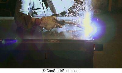 Manual worker in steel factory