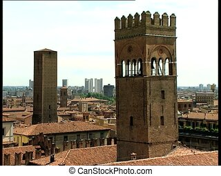 BOLOGNA view with towers - City view of the Italian city of...