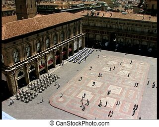 BOLOGNA p.za maggiore overhead pan - Overhead view of Piazza...