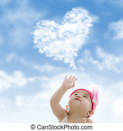 Asian baby girl - Baby girl hand towards sky