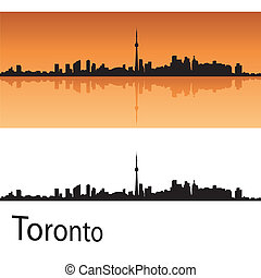 Toronto skyline in orange background in editable vector file