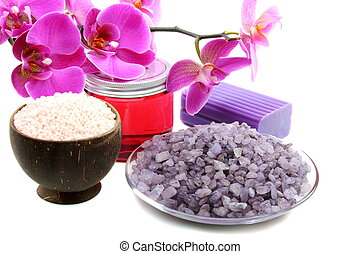Fresh orchid, natural scrubbing soap and salt for bath -...