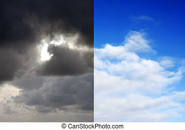 Stormy sky and blue sky contrast