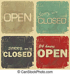 set of signs: open - closed - 24 hours - Set of signs: Open...
