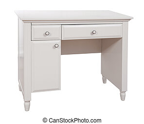 White wooden desk, with clipping path