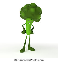 Food character - broccoli - 3d rendered illustration of a...