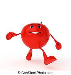 Food character - tomato - 3d rendered illustration of a food...