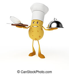 Food character - potato - 3d rendered illustration of a food...