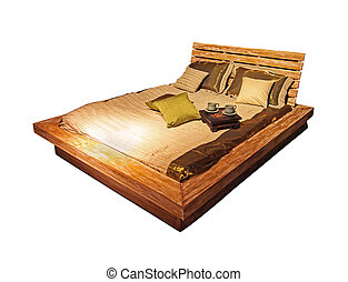 Wooden bed isolated - Vintage etno style wooden bed isolated...