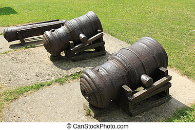 Cannons - Vintage siege weapons - old cannons. Rusty...