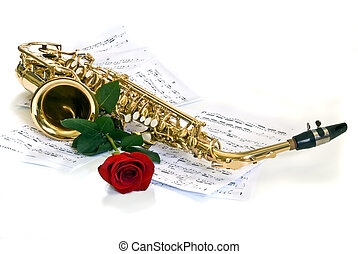 sax - alto sax against notes with rose